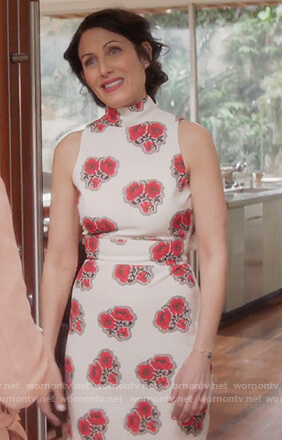Abby's white sleeveless poppy print dress on Girlfriends Guide to Divorce