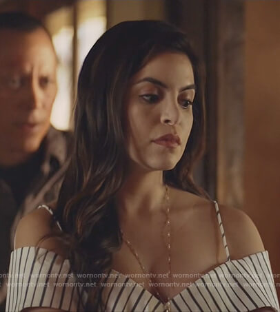 Isabela's striped cold shoulder top on Queen of the South