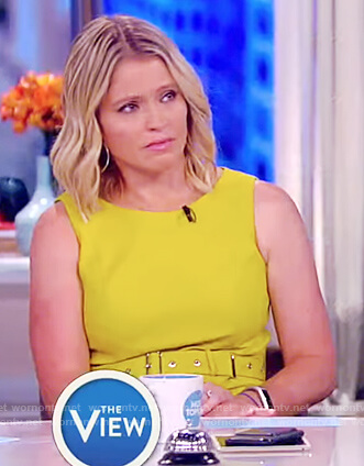 Sara's yellow belted dress on The View