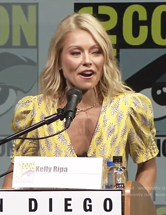 Kelly's yellow print v-neck dress on Live with Kelly and Ryan
