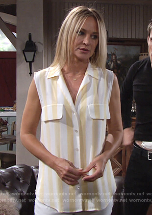 Sharon's yellow striped sleeveless shirt on The Young and the Restless