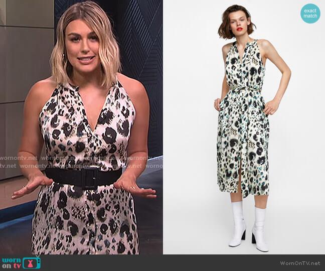 Animal Print Halter Dress by Zara worn by Carissa Loethen Culiner  on E! News
