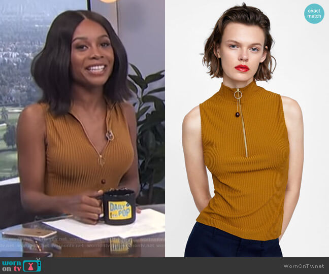 Ribbed Top with Zipper by Zara worn by Zuri Hall  on E! News