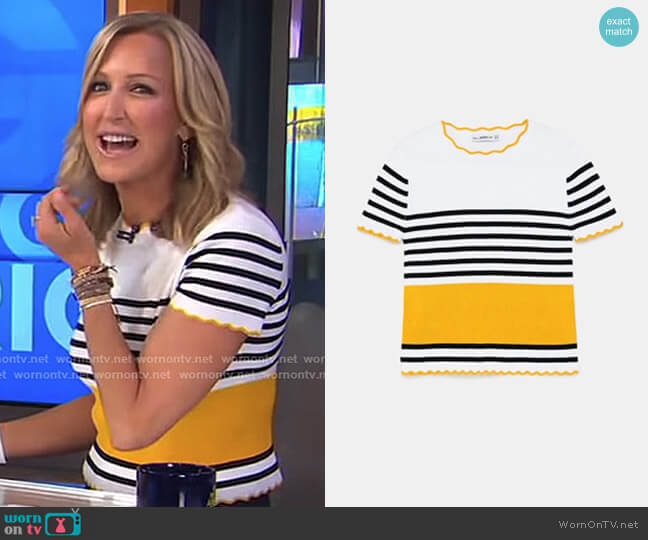 Striped Sweater with Scalloped Trim by Zara worn by Lara Spencer on Good Morning America