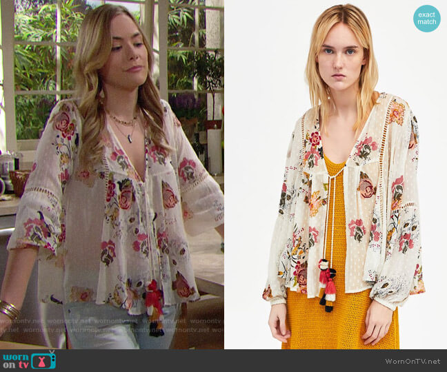 Zara Embroidered Dotted Mesh Blouse worn by Hope Logan (Annika Noelle) on The Bold & the Beautiful