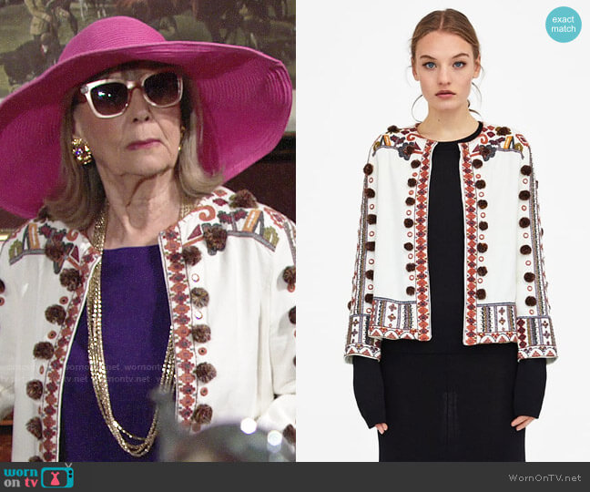 Zara Embroidered Jacket worn by Dina Mergeron (Marla Adams) on The Young & the Restless