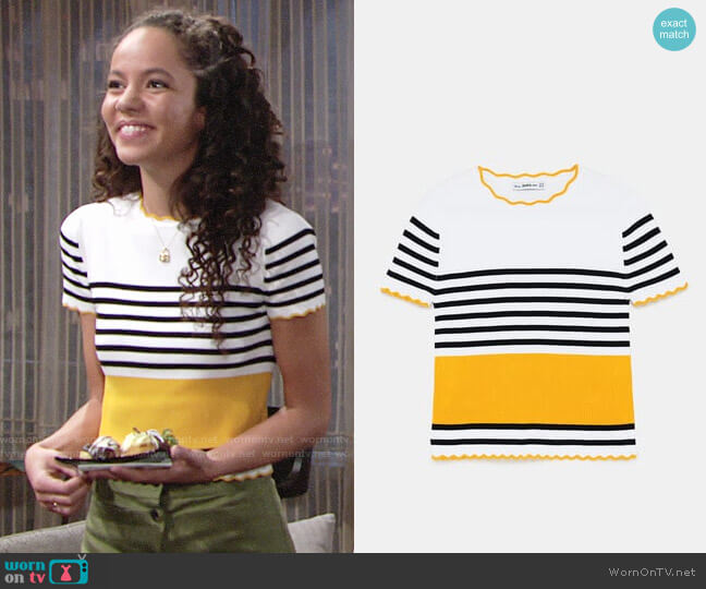Zara Striped Sweater with Scalloped Trim worn by Lexie Stevenson on The Young & the Restless