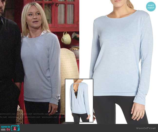 Zella Be Still Open Back Top worn by Sharon Case on The Young & the Restless