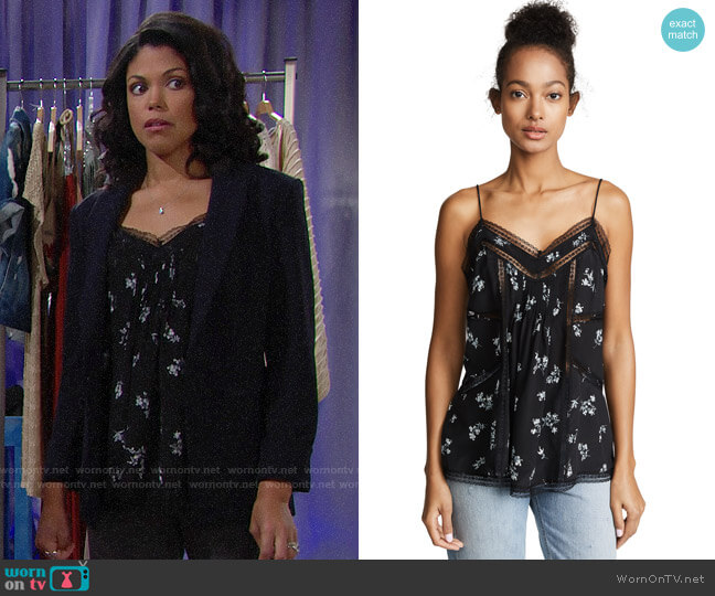 Zimmermann Pintuck Cami worn by Maya Avant (Karla Mosley) on The Bold & the Beautiful