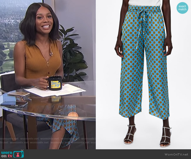 Flowy Print Culottes by Zara worn by Zuri Hall on E! News