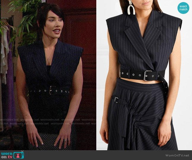 3.1 Phillip  Lim Cropped Wool Vest worn by Steffy Forrester (Jacqueline MacInnes Wood) on The Bold & the Beautiful