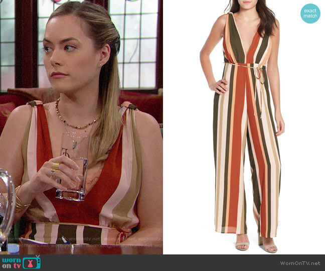 4SI3NNA Stripe Deep V Jumpsuit worn by Annika Noelle on The Bold & the Beautiful