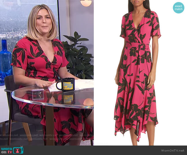 Cora Print Silk Midi Wrap Dress by ALC worn by Carissa Loethen Culiner  on E! News