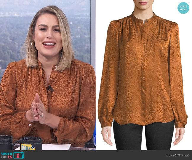Owens Silk Jacquard Top by ALC worn by Carissa Loethen Culiner  on E! News