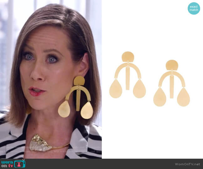 Oversized Geometric Earrings by Annie Costello Brown worn by Miriam Shor on Younger