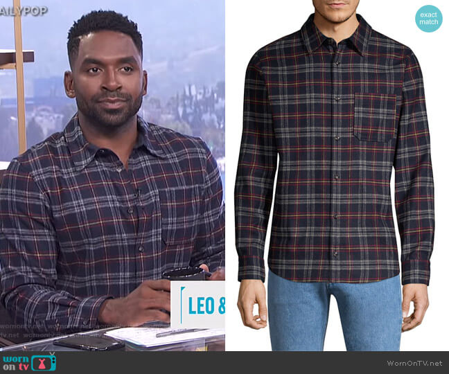 Attic Plaid Button-Down Shirt by APC worn by Justin Sylvester on E! News