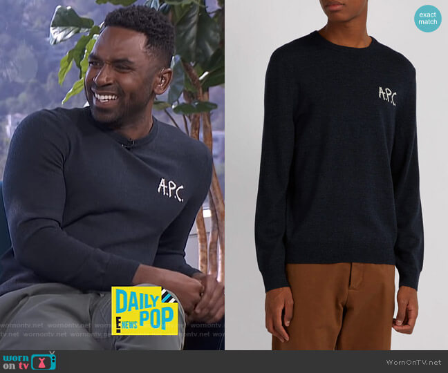 Sapiens merino wool sweater by APC worn by Justin Sylvester on E! News