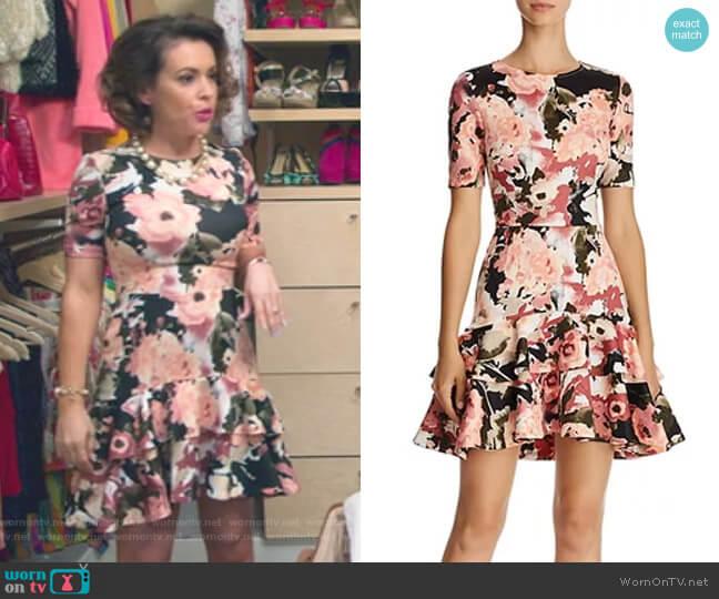 Floral Tiered-Hem Dress by Aqua worn by Alyssa Milano on Insatiable