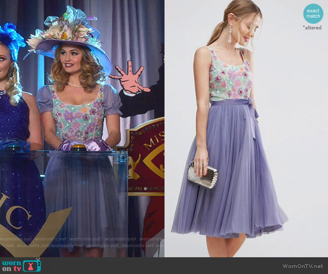 Floral Embellished Bodice Midi Tulle Skater Dress by Asos worn by Patty Bladell (Debby Ryan) on Insatiable