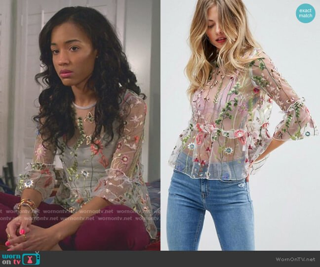 Embroidered Ruffle Smock Top by Asos worn by Magnolia Barnard (Erinn Westbrook) on Insatiable