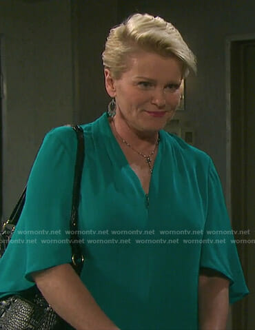 Adrienne's green v-neck blouse on Days of our Lives