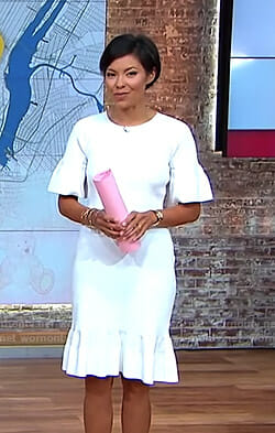 Alex's white ribbed bell sleeve dress on CBS This Morning