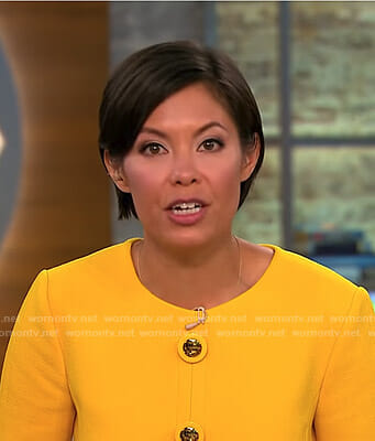 Alex's yellow embellished button dress on CBS This Morning