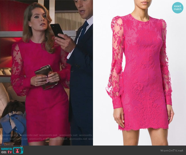 Lace Mini Dress by Alexander McQueen worn by Sutton (Meghann Fahy) on The Bold Type