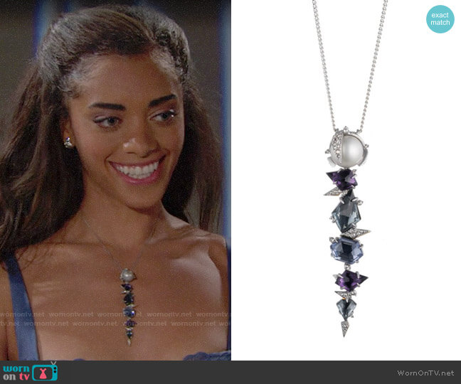 Alexis Bittar Mosaic Lace Pendant Necklace worn by Kiara Barnes on The Bold & the Beautiful