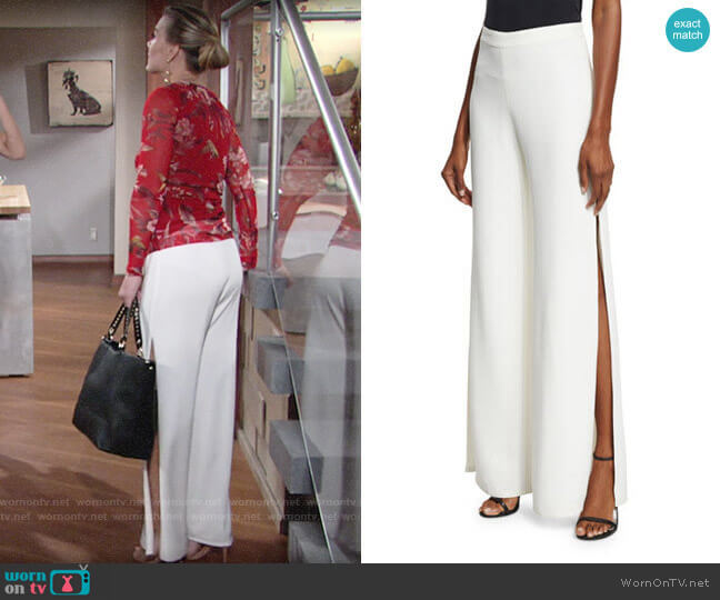 Alexis Brenda Wide Leg Slit Pants worn by Gina Tognoni on The Young & the Restless