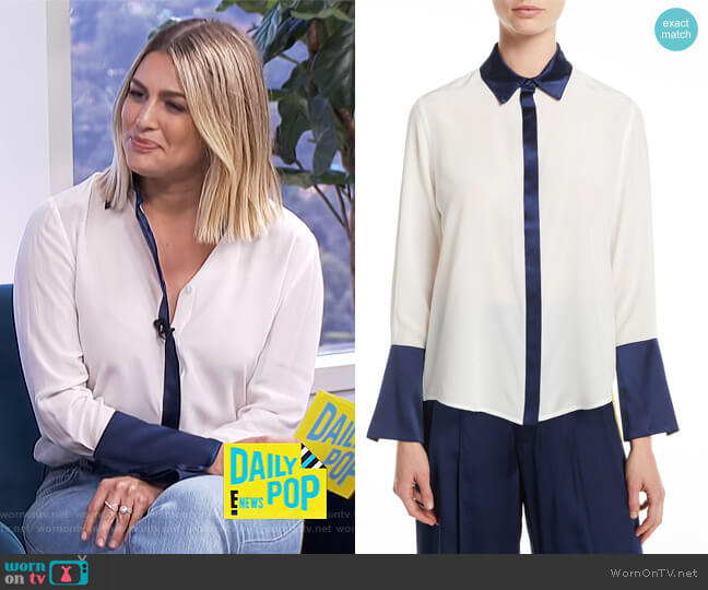 Julya Silk Colorblock Shirt by Alexis worn by Carissa Loethen Culiner  on E! News