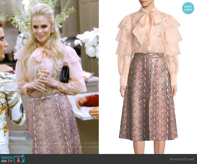 Talulah Blouse and Romi Skirt by Alice + Olivia worn by Kameron Westcott  on The Real Housewives of Dallas