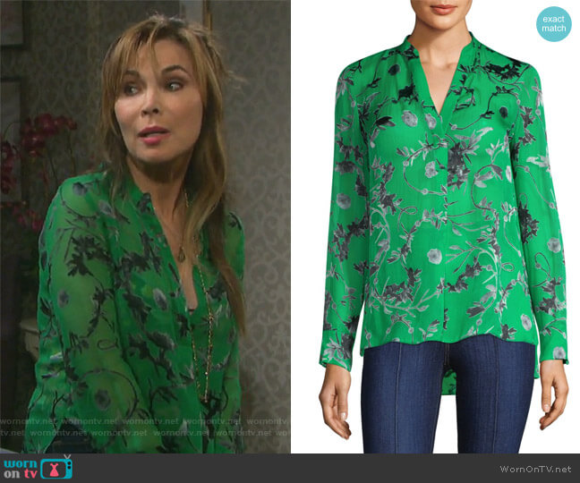 Amos Silk Tunic by Alice + Olivia worn by Lauren Koslow on Days of our Lives