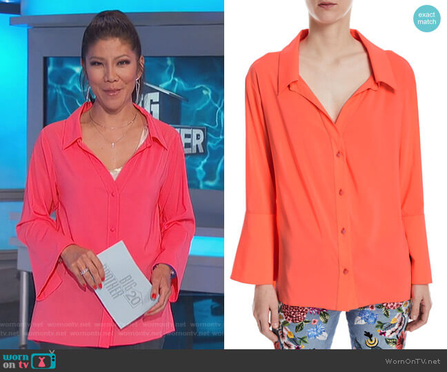 Denver Blouse by Alice + Olivia worn by Julie Chen  on Big Brother