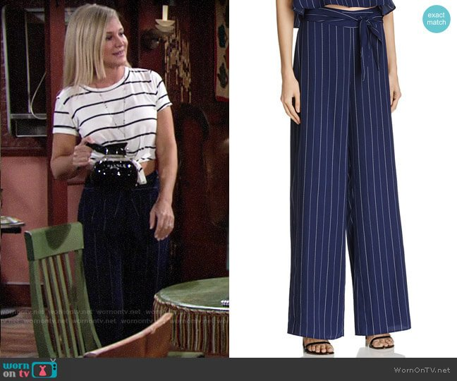 Aqua Stripe Tie Waist Wide Leg Pants worn by Sharon Case on The Young & the Restless