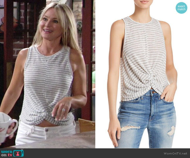 Aqua Twist Front Striped Tank worn by Sharon Collins (Sharon Case) on The Young & the Restless