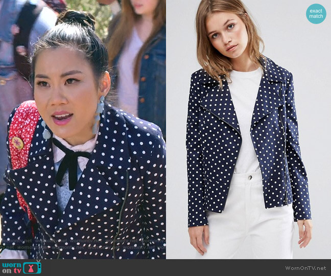 Polka Dot Biker Jacket by Helene Berman  worn by Dixie Sinclair (Irene Choi) on Insatiable