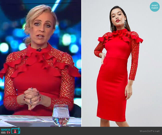 Midi Pencil Dress with Mesh and Frill Details by Asos worn by Carrie Bickmore (Carrie Bickmore) on The Project