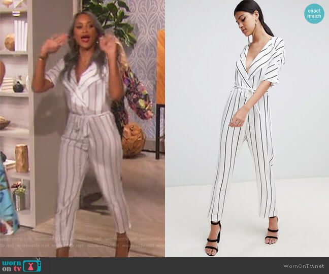 Wrap Jumpsuit with self belt in stripe by Asos worn by Eve (Eve) on The Talk