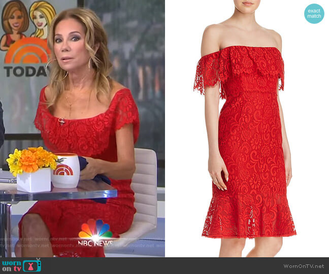 Off-the-Shoulder Lace Dress by Bcbgmaxazria worn by Kathie Lee Gifford  on Today