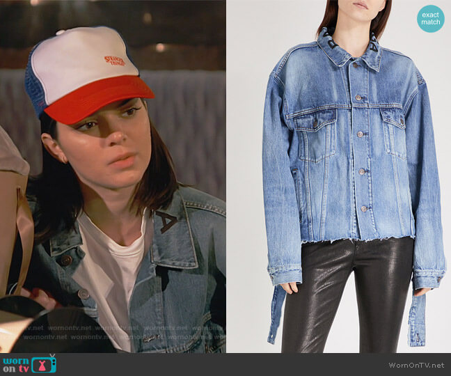 Distressed-waist denim jacket by Balenciaga worn by Kendall Jenner  on Keeping Up with the Kardashians