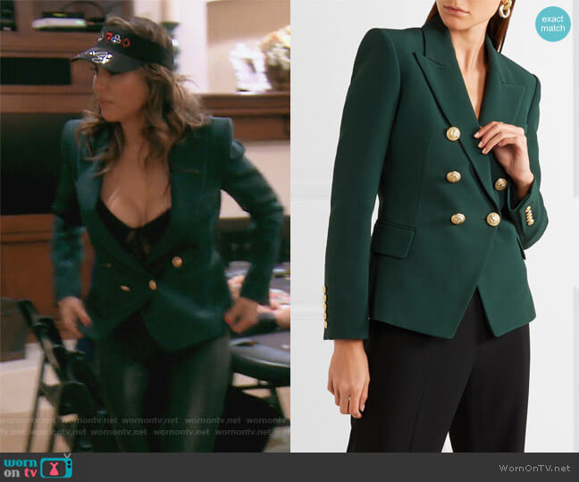 Double-breasted crepe blazer by Balmain worn by Kelly Dodd on The Real Housewives of Orange County