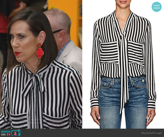 Striped Silk Tieneck Blouse by Barneys New York worn by Miriam Shor on Younger