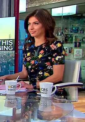 Bianna's black floral short sleeve dress on CBS This Morning