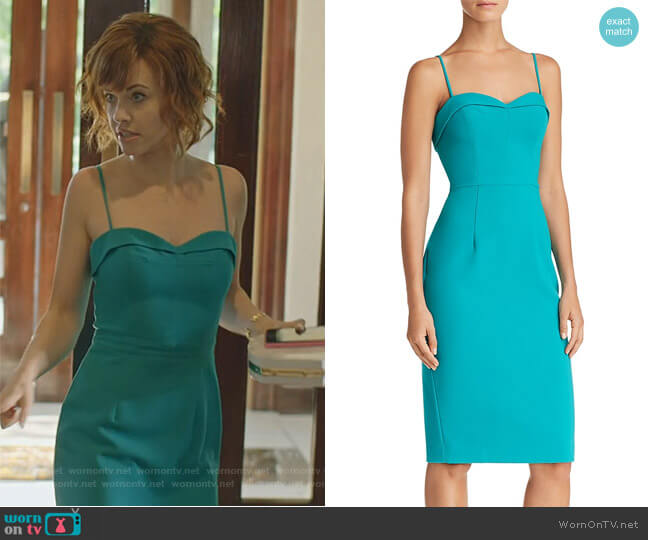 Clover Sheath Dress by Black Halo worn by Kelly Anne Van Awken (Molly Burnett) on Queen of the South