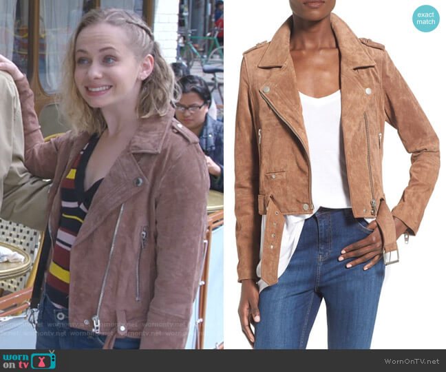 Morning Suede Moto Jacket by BlankNYC  worn by Caitlin Miller (Tessa Albertson) on Younger