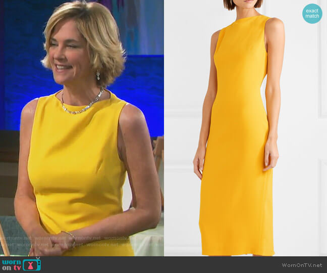 Crepe midi dress by Brandon Maxwell worn by Kassie DePaiva on Days of our Lives
