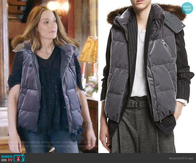 Velvet Puffer Vest with Fur-Trim Hood by Brunello Cucinelli worn by Cary Deuber  on The Real Housewives of Dallas