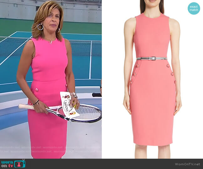 Button Detail Stretch Wool Dress by Michael Kors worn by Hoda Kotb on Today