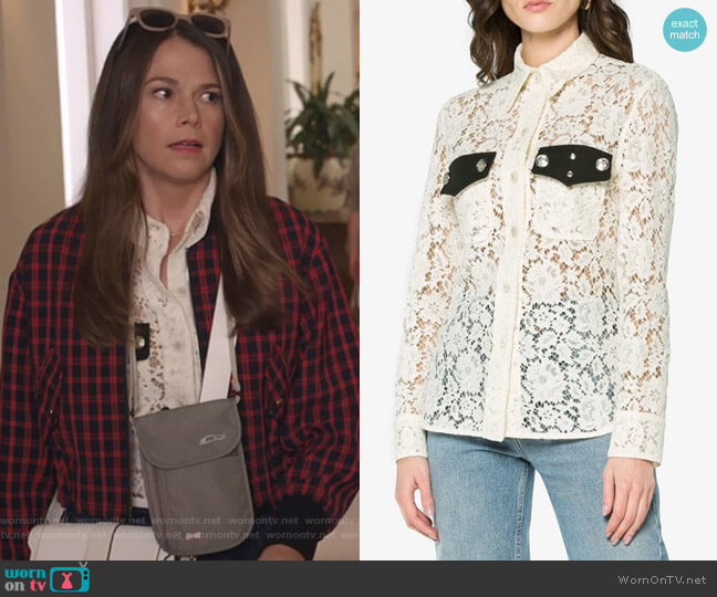 Lace Long Sleeve Shirt by Calvin Klein 205W39NYC worn by Sutton Foster on Younger